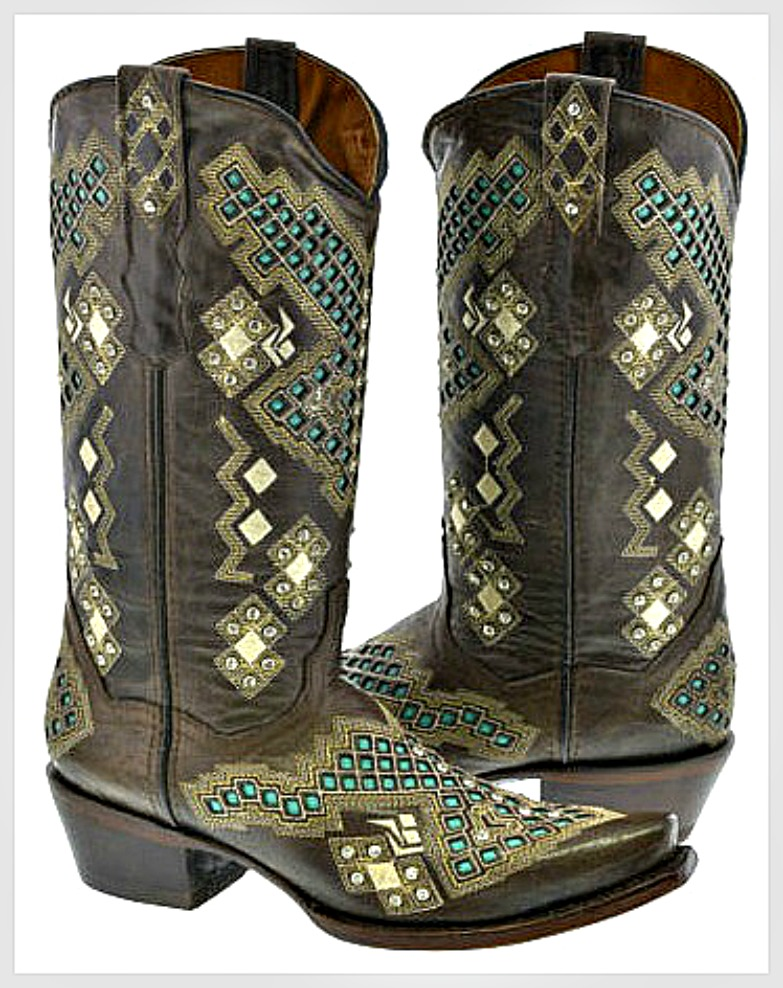 COWGIRL STYLE BOOTS Rhinestone Studded Aztec Pattern Brown and Turquoise Genuine Leather Boots Sizes 6-9