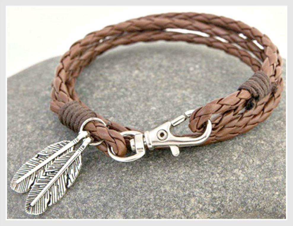 COWGIRL STYLE BRACELET Brown Braided Leather Silver Feather Charm Bracelet
