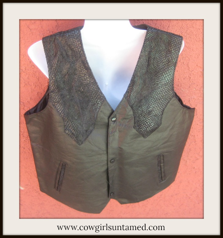 COWBOY STYLE VEST Hand-sewn Leather Ostrich and Black Snake Skin Pocket Vest
