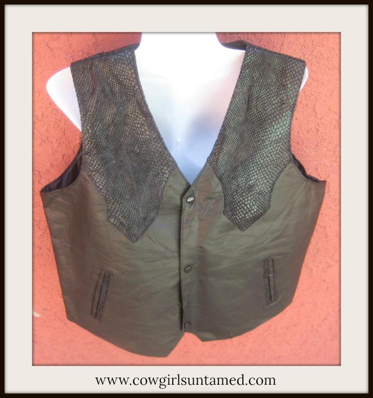 COWBOY STYLE VEST Hand-sewn Leather Ostrich and Black Snake Skin Pocket Vest