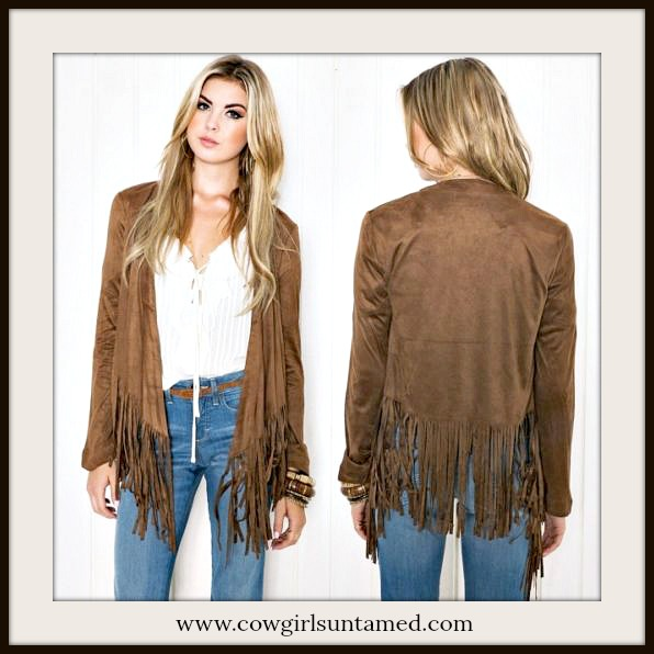 BOHO CHIC JACKET Brown Faux Suede Fringe Long Sleeve Boho Jacket