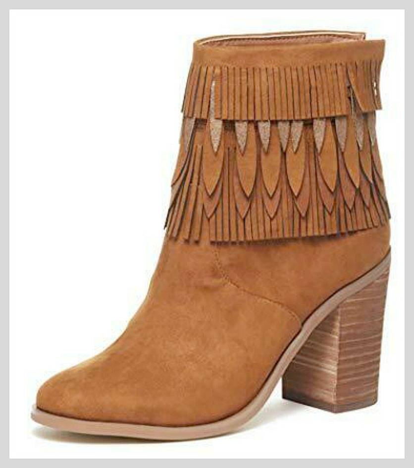 ON THE FRINGE BOOTS Brown Layered Fringe Stacked Heel Boho Boots