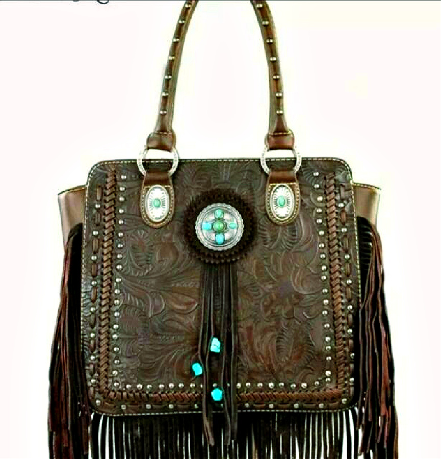 TRINITY RANCH PURSE Antique Silver Turquoise Concho Dark Brown Tooled Leather Studded Fringe Western Satchel Handbag