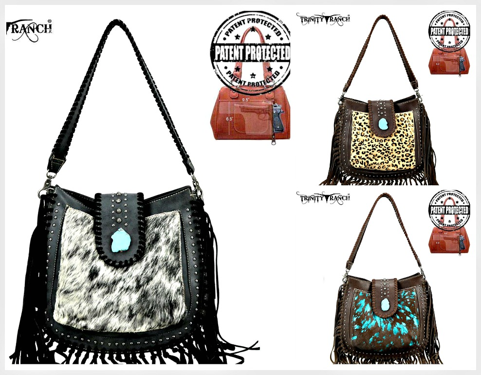 COWGIRL STYLE PURSES Trinity Ranch Hair-On Leather Concealed Carry Hobo Crossbody Purse 3 COLORS!