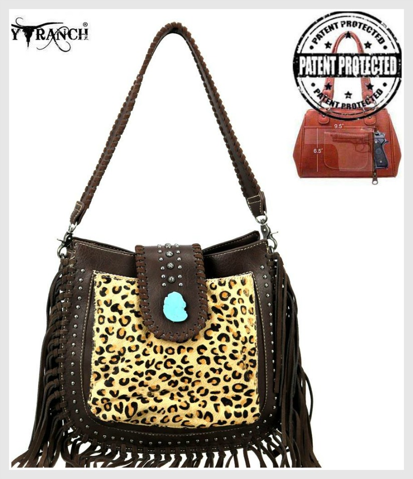 COWGIRL STYLE PURSE Trinity Ranch Leopard Hair-On Leather Concealed Carry Hobo Crossbody Purse