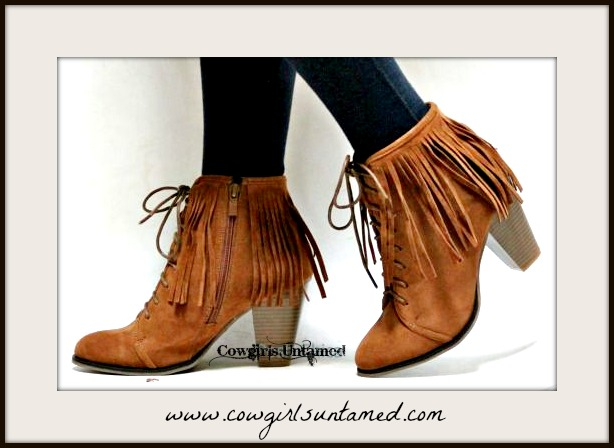 BOHO CHIC BOOTIES Brown Faux Suede Lace Up Front Fringe Heel Booties