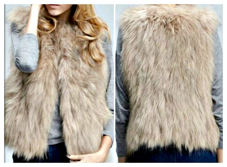 COWGIRL GYPSY VEST Light Brown & Beige Faux Fur Vest