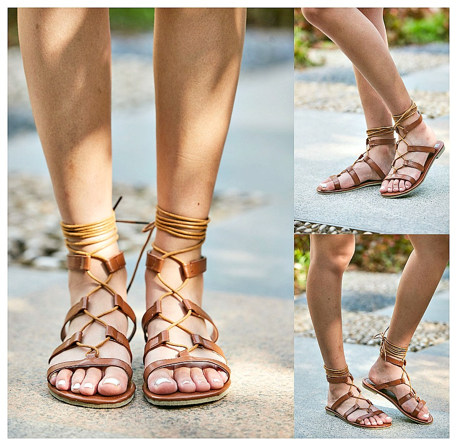 BOHEMIAN SANDALS Brown Faux Leather Lace Up Gladiator Sandals