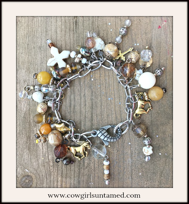 COWGIRL STYLE BRACELET Shades of Brown Silver & Gold Handmade Western Charm Bracelet