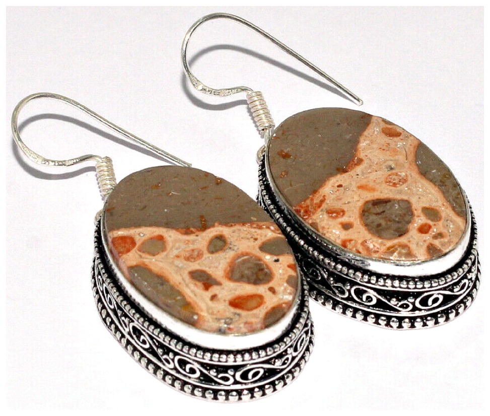BOHEMIAN COWGIRL EARRINGS Poppy Jasper 925 Sterling Silver Plated Vintage Style Boho Earrings