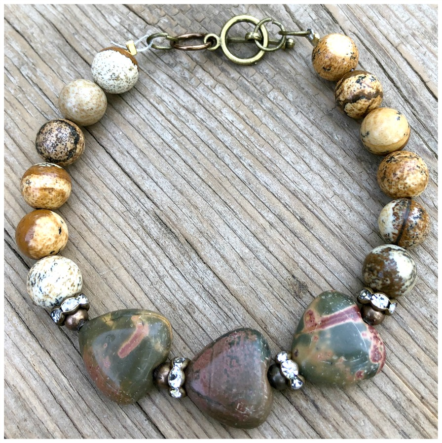 TRUE TO MY HEART BRACELET Custom Antique Bronze Rhinestone Brown Jasper Gemstone Heart Beaded Bracelet