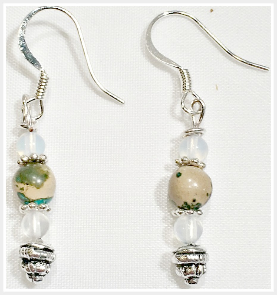 BOHEMIAN COWGIRL EARRINGS Jasper & Moonstone Gemstone 925 Sterling Silver Earrings