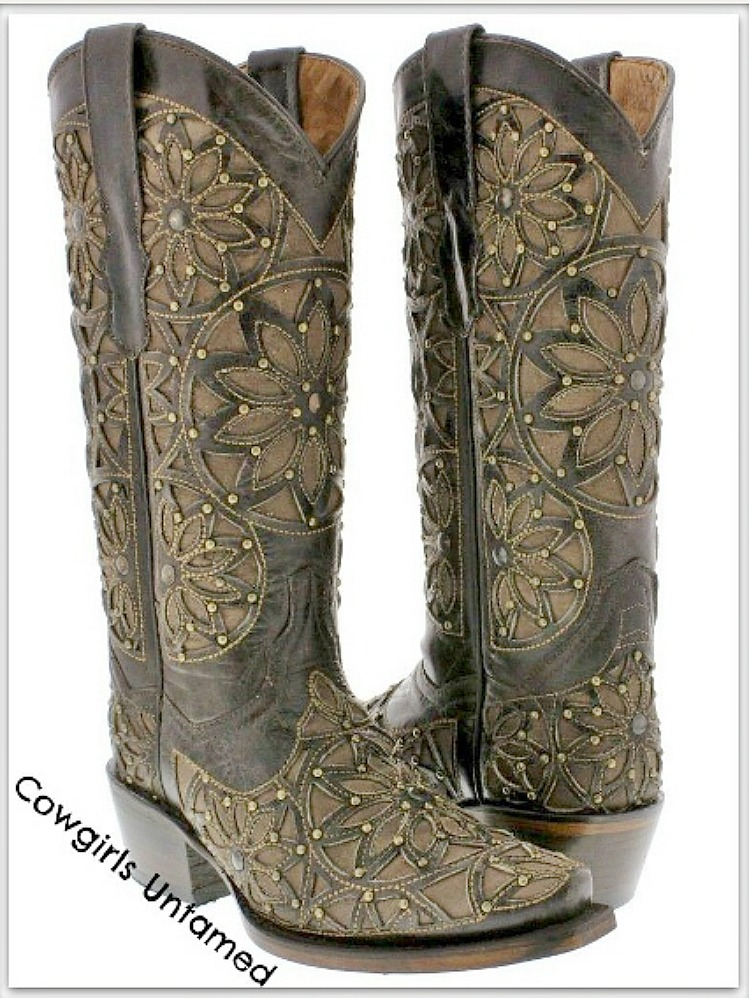 COWGIRL GYPSY BOOTS Brown Inlay Laser Cut & Studded Brown GENUINE LEATHER Cowgirl Boots SIZES 6-9