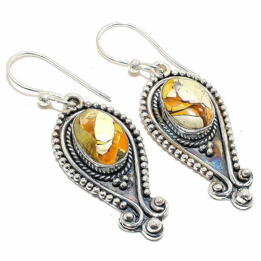Brown & Tan Brecciated Mookaite Gemstone Handmade 925 Sterling Silver Dangle Earrings