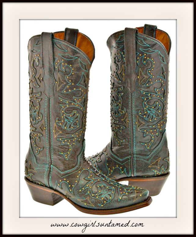 COWGIRL STYLE BOOTS Turquoise Embroidery Studded Brown Genuine Leather Boots