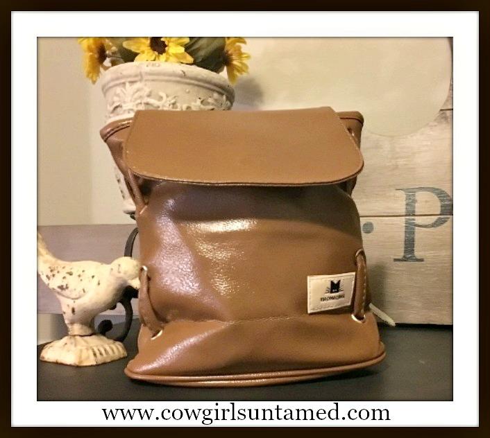 THE KITTY HANDBAG Gold Hardware Double Strap & Kitty Tag Brown Messenger Bag