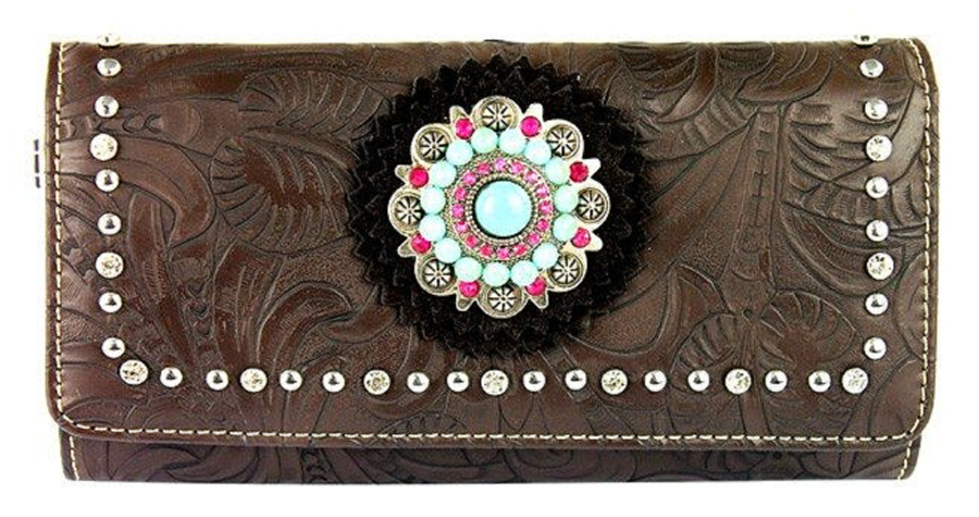 MONTANA WEST WALLET Pink Turquoise Silver Crystal Dark Brown Tooled Leather Womens Cowgirl Wallet