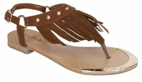 BOHEMIAN COWGIRL SHOES Brown Faux Suede Fringe Gold Studded Womens Boho Western Flats Sandals
