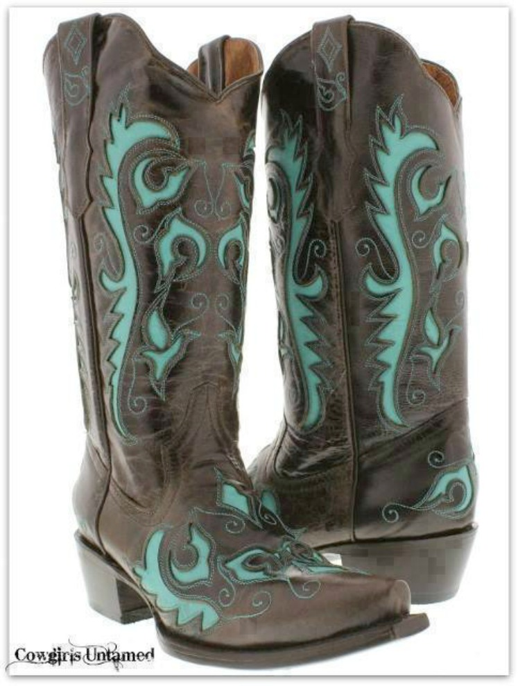 COWGIRL STYLE BOOTS Turquoise Embroidered & Inlay Brown GENUINE LEATHER Boots