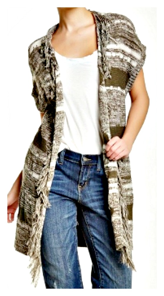 BOHO CHIC SWEATER Olive and White Long Fringe Designer Vest