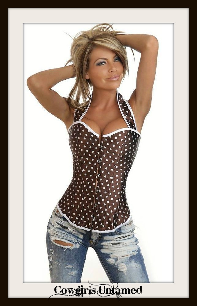 CORSET - Brown Satin Polka Dot Halter Style Lace Up Back Western Corset Top