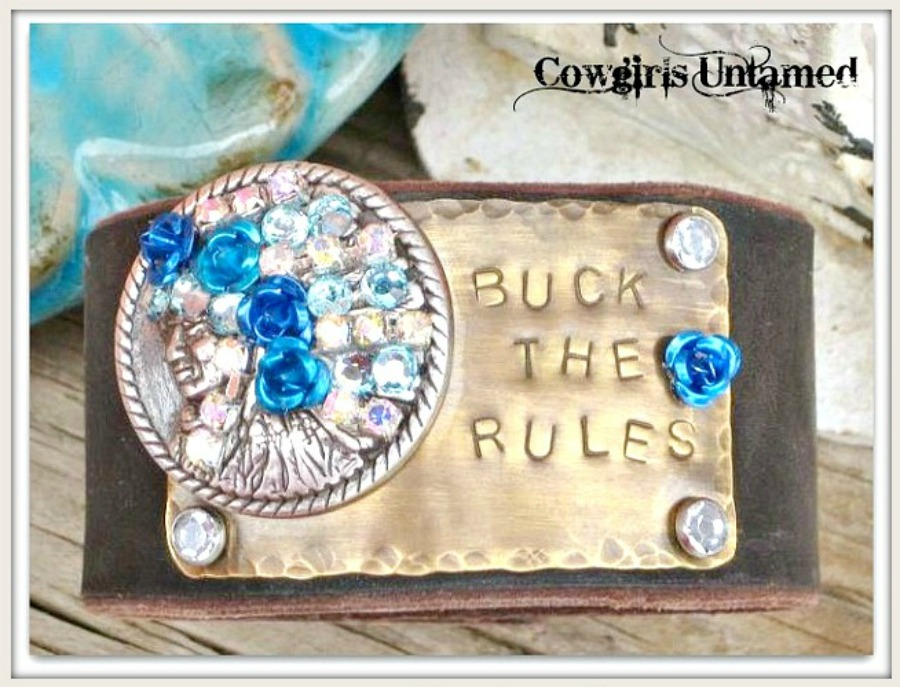 "COWGIRL STYLE CUFF ""Buck The Rules"" With Rhinestone  Blue Flowers Crystals Silver Indian Chief Brown Leather Bracelet"