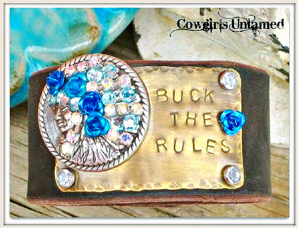 """COWGIRL STYLE CUFF """"Buck The Rules"""" With Rhinestone  Blue Flowers Crystals Silver Indian Chief Brown Leather Bracelet"""