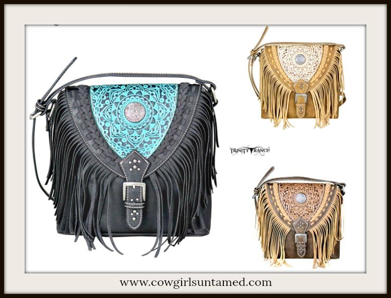 BOHEMIAN COWGIRL HANDBAG Stitch & Fringe Two Tone Leather Boho Crossbody Bag