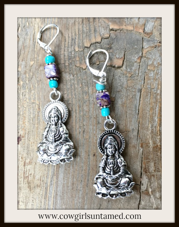 BOHEMIAN COWGIRL EARRINGS Antique Silver Buddha on Purple Jasper Gemstone & Turquoise Silver Earrings