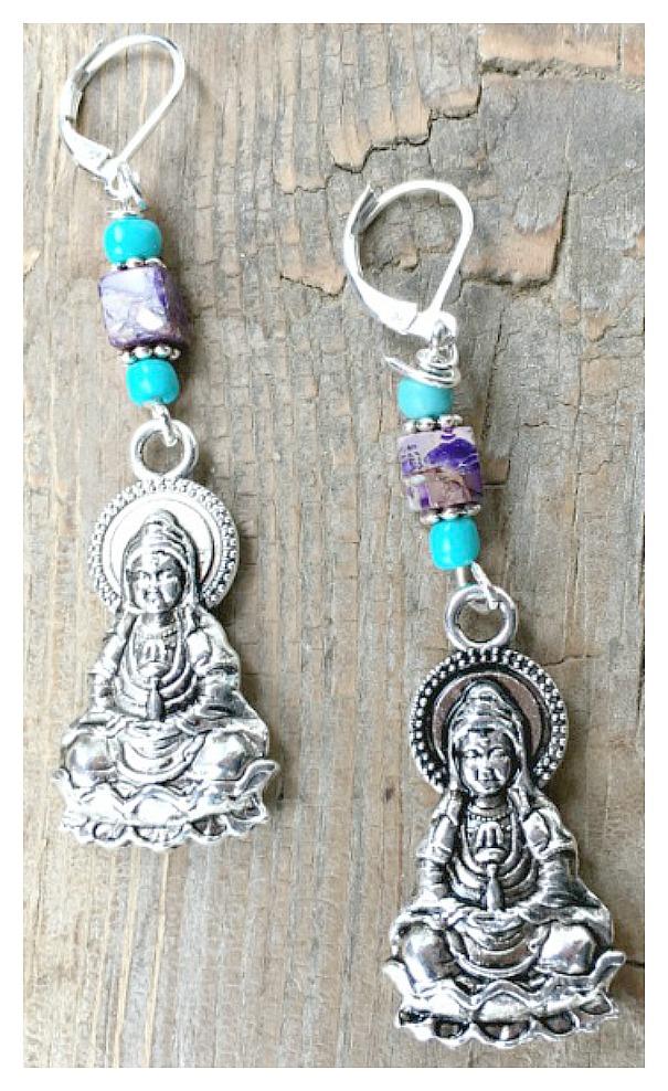 BOHEMIAN COWGIRL EARRINGS Antique Silver Buddha on Purple Jasper Gemstone & Turquoise Silver Earrings