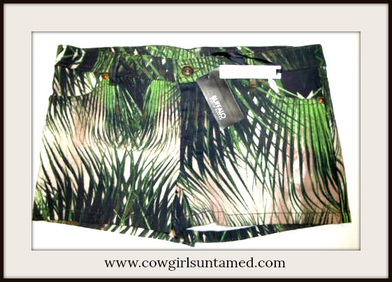 DESIGNER SHORTS Shades of Green Palms White Designer Shorts