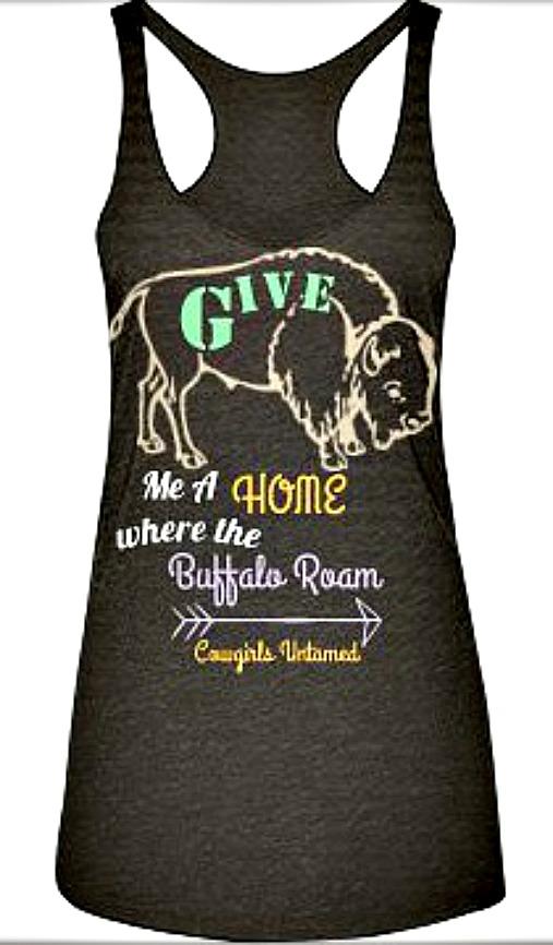 "COWGIRL GYPSY TOP Pastel ""Give Me A Home Where the Buffalo Roam"" Mocha Tank Top"
