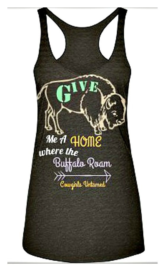 "THE ROAMIN' TOP Pastel ""Give Me A Home Where the Buffalo Roam"" Mocha Tank Top"