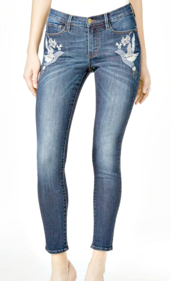 BDB JEANS Floral & Dove Embroidery Dark Wash Skinny Jeans