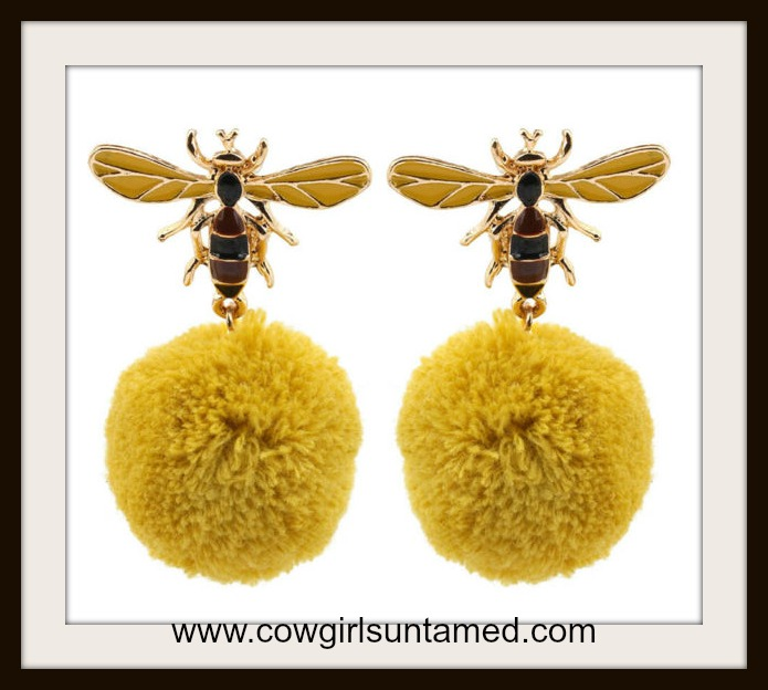 WILDFLOWER EARRINGS Cute Bumble Bee Dangle Earrings Pom Pom Ball