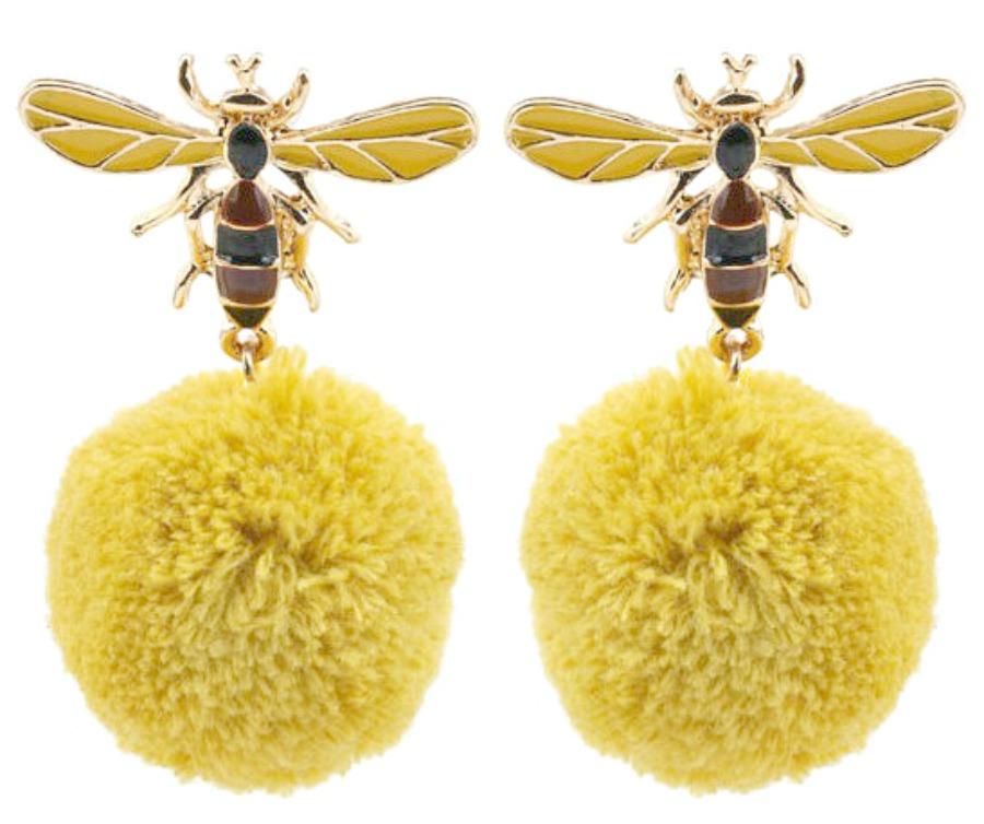 WILDFLOWER EARRINGS Cute Bumble Bee Dangle Earrings Pom Pom Ball