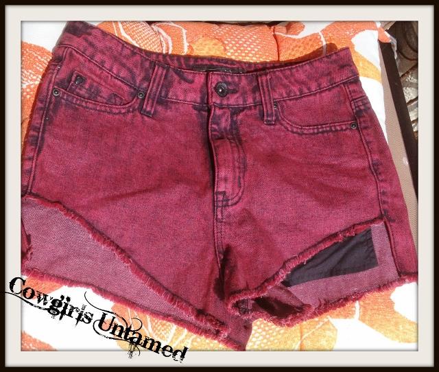DESIGNER SHORTS Black Burgundy Distressed Jean Cut Off Shorts