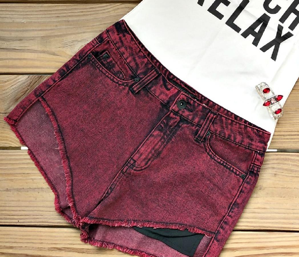 LOVESICK SHORTS Black Burgundy Distressed Jean Cut Off Shorts LAST ONE Size 3