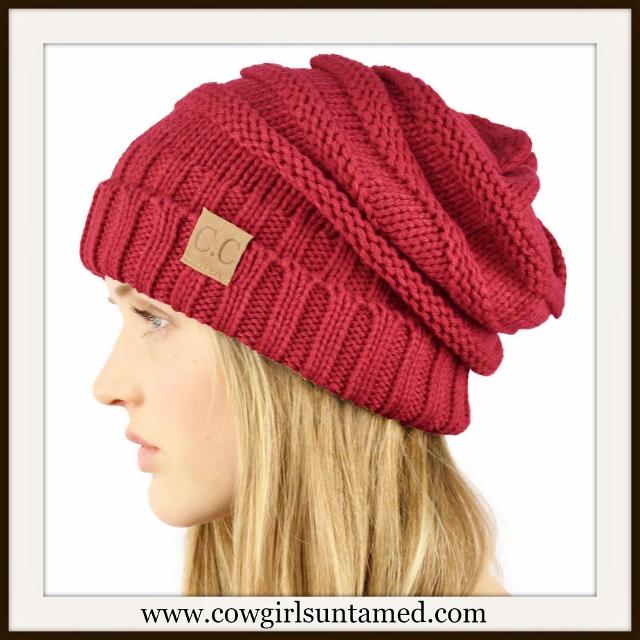 BEANIE CAP Unisex Chunky Warm Knit Designer Burgundy Cap