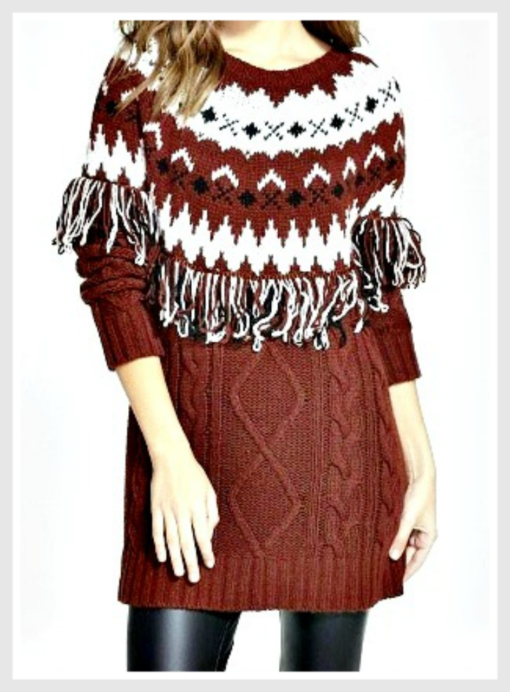 GLAMOROUS SWEATER Burgundy & Black Fringe Cable Knit Designer Pullover Sweater LAST ONES S/M or M/L