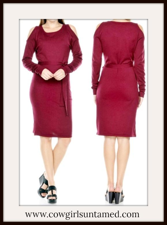 COWGIRL STYLE DRESS Burgundy Cold Shoulder Long Sleeve Sweater Designer Dress