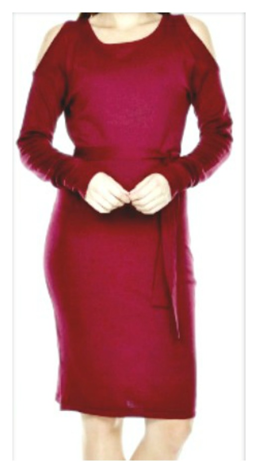 WINTER STYLE DRESS Burgundy Cold Shoulder Long Sleeve Sweater Designer Dress