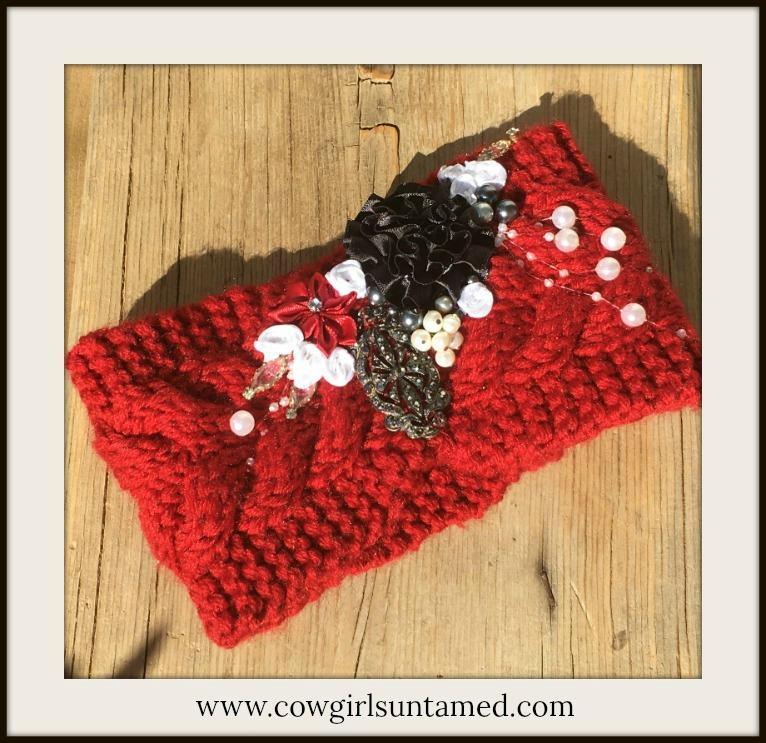 COWGIRL GYPSY HEADBAND Vintage Jewelry & Pearls Flowers Burgundy Knit Headband
