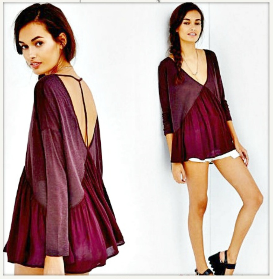 WILDFLOWER TOP Burgundy Open Back Loose Fit Jersey N Chiffon Boho Top