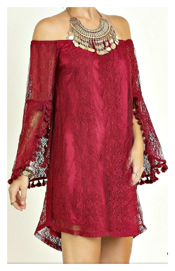 TOUCH OF GLAM DRESS Off the Shoulder Bell Tassel Sleeve Wine Lace Umgee Mini Dress