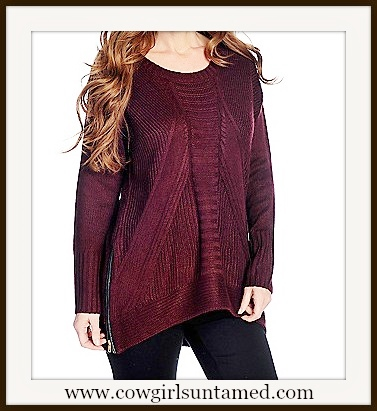 DESIGNER SWEATER Black Faux Leather Zip Sides on Burgundy Knit Sweater