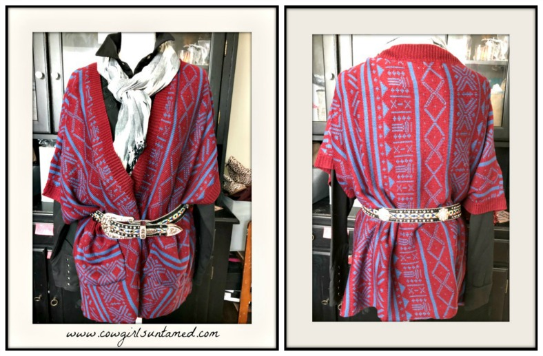 BOHEMIAN COWGIRL CARDIGAN Aztec Burgundy & Blue Oversized Open Pocketed Boho Cardigan
