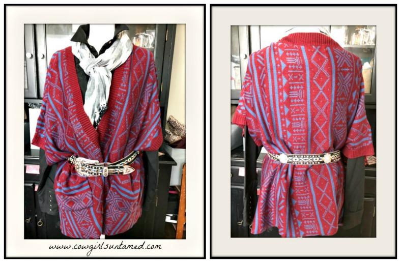 BOHEMIAN COWGIRL CARDIGAN Aztec Burgundy & Blue Oversized Open Pocketed Boho Cardigan