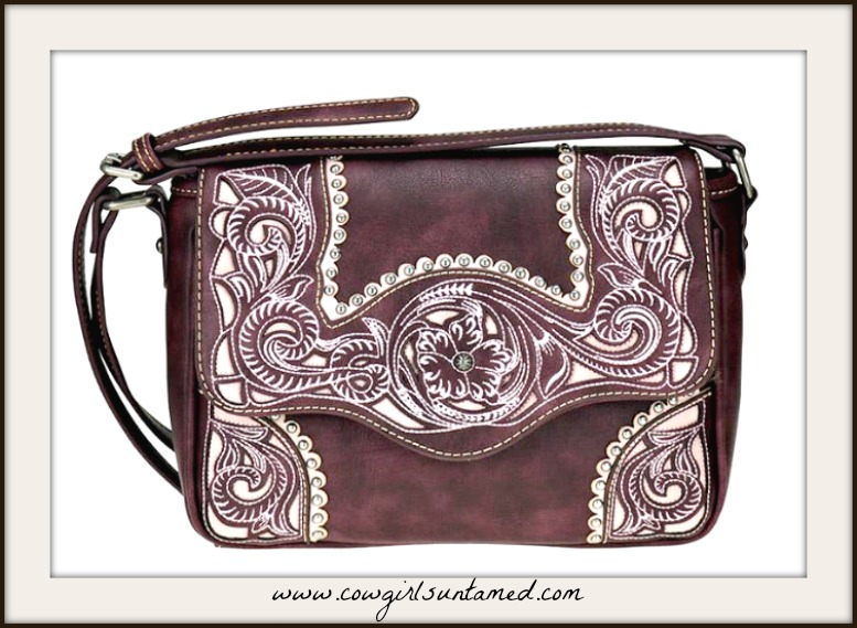 COWGIRL STYLE HANDBAG Floral Embroidery & Inlay Burgundy Crossbody Bag