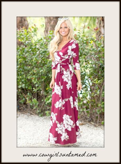 MAGNOLIAS BLOOM DRESS White Floral Burgundy Faux Wrap Self Tie Maxi Dress